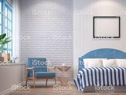 Vintage Schlafzimmer Mit Blauen Möbeln 3dbild Rendern Stockfoto Und