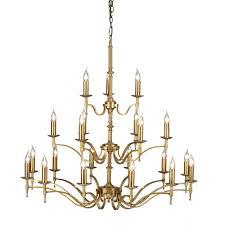 stanford very large 3 tier regency style chandelier in aged brass