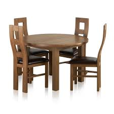 knightsbridge 4ft rustic solid oak round extending dining table 4 wave back brown leather chairs express delivery