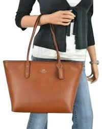 Coach City Tote in Saddle