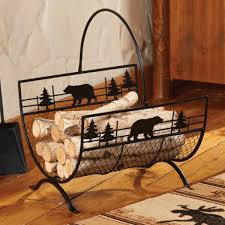 image of awesome wood fireplace log holder for birch wood fireplace logs using en wire mesh