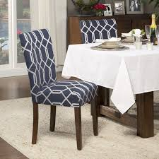 kitchen dining room chairs homepop navy blue silver lattice elegance parson chairs set of 2