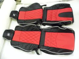 nissan 350z 2002 08 synthetic leather seat covers black red diamond stitching