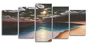 amazon wieco art 5 piece the yellow beach stretched and framed modern landscape canvas prints on canvas wall art set posters prints on beach framed canvas wall art with amazon wieco art 5 piece the yellow beach stretched and framed