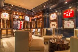 man cave furniture ideas. A Sophisticated Sports Mans Dream. Hung Bats And Jerseys Make Great Decor Options. Man Cave Furniture Ideas
