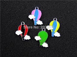 ae549 mix color 100pcs alloy metal enamel hot air balloon charms pendants 26x21mm bead wapf75401
