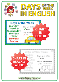 Days Of The Week Chart I Go To School Woodward English