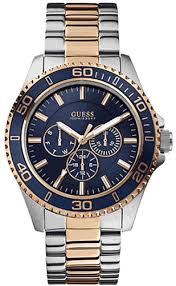 men s two tone guess chronograph sports watch u0172g3 men s two tone guess multi function sports watch u0172g3