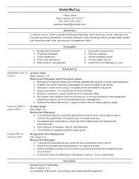 Business Resume Examples Amazing Restaurant Floor Manager Job Responsibilities Resturant Resume