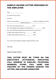 Proof Of Income Letter Sample Bio Example