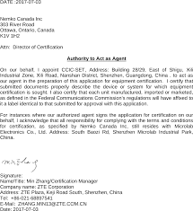 Zte R341 Feature Phone Cover Letter Authority To Act As Agent Fcc
