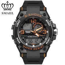online get cheap mens orange watches aliexpress com alibaba group orange fashion cool men watches led sport leisurely montre multifunction man movement clock horloges zegarek dual