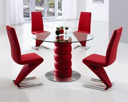 Red dining table set Glass Dining Furniture Italia Zeta Round Glass Table