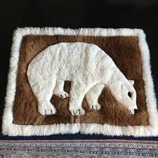 large vintage alpaca fur polar bear rug