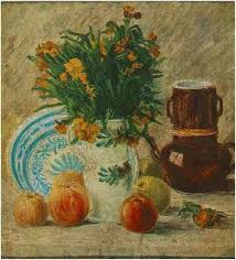 vincent van gogh vase with flowers coffeepot and fruit painting oil on