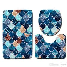 2018 fish scale printed bath mats set anti slip bathroom floor mats toilet rug lid cover absorbent bathroom carpets set bathroom accessories from dytowel