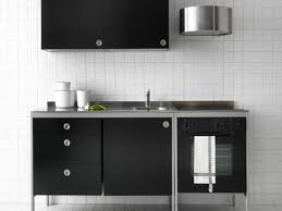 Freestanding Kitchen Simple White Wall Tile Background Contrast With Black Free