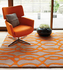 Orange Rugs For Living Room Matrix Wire Orange Grey Thick Wool Rug Max37 Martin