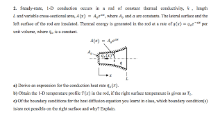 steady state 1 d conduction occurs in a rod of constant