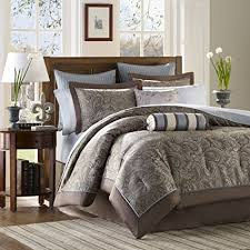 Madison Park Aubrey Queen Size Bed Comforter Set Bed In A Bag   Blue, Brown