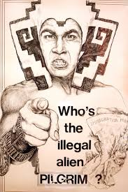 Who's the Illegal Alien Pilgrim?, a drawing by Yolanda Lopez, is displayed in the National Museum of Mexican Art July 9, 2008 in Chicago, Illinois. - Immigration%2BThemed%2BArt%2BExhibit%2BOpens%2BChicago%2BRr7FYVeYiYyl