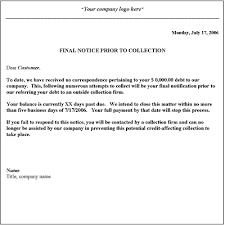 Business Form Letter Template Collection Letter Template Final Notice