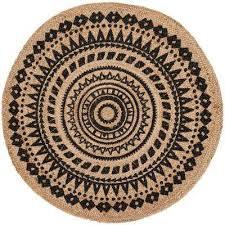 natural fiber black beige 5 ft x 5 ft round area rug