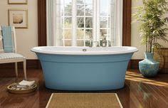 maax ella sleek freestanding bathtub with blue a