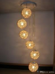 6 light natural rattan woven ball stair pendant light living room pendant lamp bedroom hallway gallery pendant lamp fixtures plug in hanging lamps