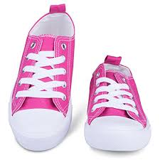 Size 1 Girl Shoes Chart Sav103 Pink 1 Girls Canvas Sneakers Pink Tennis Shoes