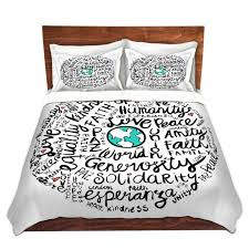 cool funky bed pillow shams standard and king pom graphic design positive messages bedding duvet covers