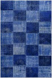 vintage patchwork overdyed blue wool rug 19040