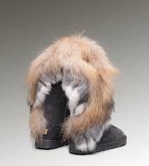 ... UGG Fox Fur Tall Boots 8688 Grey Popular Clearance ...