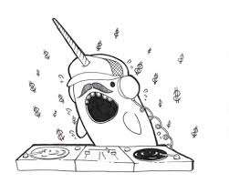 Funny Looking Narwhal Disc Jockey Coloring Page Jpg 1024 822