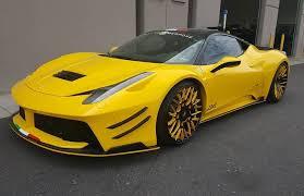 ferrari italia widebody. prior design widebody ferrari 458 looks odd in yellow, has forgiato wheels italia