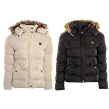 women s puffer jacket coat las faux fur hooded padded quilted winter jacket parka