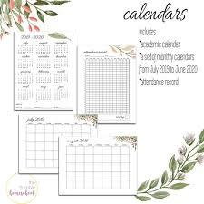 Printable Attendance Calendar 2020 2019 2020 Printable Calendar Set Attendance Calendar Year At A Glance Monthly Calendar Set