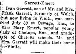 Ivan Garrett-Mary Emert marriage announcement - Newspapers.com