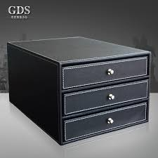 gardensun wood leather 3 drawer office desktop a4 file cabinet doent filing organizer box holder container black in file tray from office school