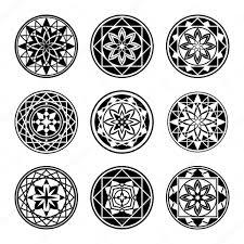 круглые татуировки Mandala элементы значок татуировки набор