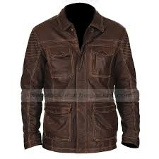 mens designer four pocket brown leather jacket zoom mens