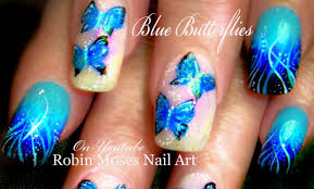 Blue Butterfly Nails | DIY Gradient Nail Art Design Tutorial - YouTube