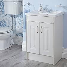 milano york 600mm white ash vanity unit traditional bathroom