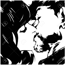 Happy Young Couple Kiss Vector Illustration Of Pop Art Style