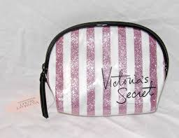 victoria s secret pink glitter signature stipe makeup cosmetic bag case organize victoriecret