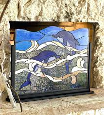 stained glass firescreen cool stained glass fireplace screen stained glass fireplace  screen kits decorative fire screens