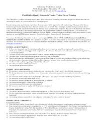 Professional Truck Driver Resume For Checklist For Quality Courses