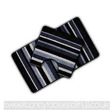 non slip striped 2 piece bath mat pedestal mat black multi stripes v96km821d