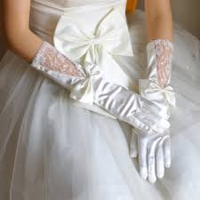 gloves for wedding. satin wedding gloves with bowknot for w