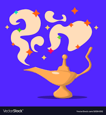 Lamp Aladdin With Gin The Magic Lamp Of Aladdin Vector Image